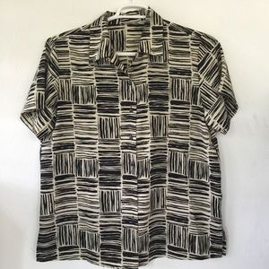 Tops - Women's Blouse Cream and Black Pattern Size L